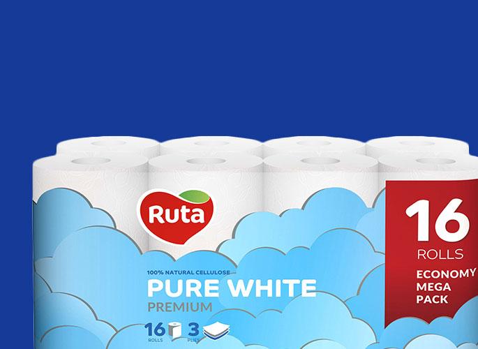 Ruta Pure White трехслойная 16 рулонов